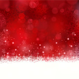 Fototapety Red Christmas background with snowflakes and stars