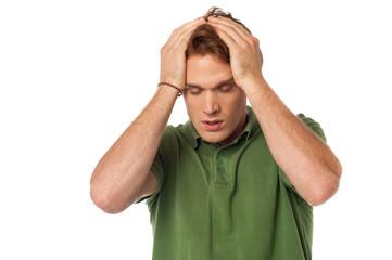 Man having severe headache