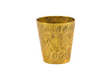 ancient engrave brass cup isolated on white