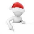 Santa points finger down