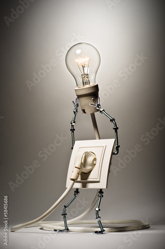 Socket holds the incandescent lamp plugged in itself