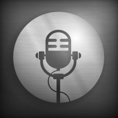 Retro microphone icon in gray and black color, vector