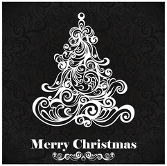 Christmas card. Floral Christmas tree.