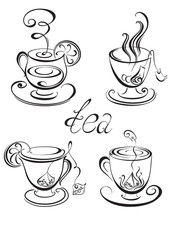 Set of tea cups. Vector illustration