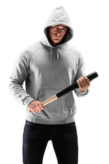 Young man with hood over his head holding a baseball bat