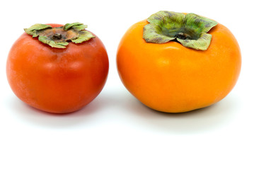 Ripe and raw persimmon