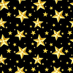 Seamless pattern with gold stars on black. Vector illustration.