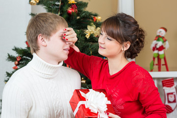 happy couple celebrate Christmas or New Year