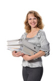 woman with a нeavy folders on a white background