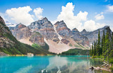 Beautiful Moraine Lake with Rocky Mountains in Alberta, Canada