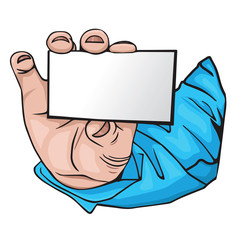hand with business card. cartoon Style