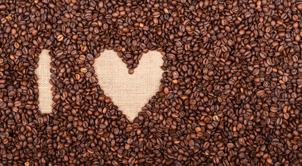 """I LOVE COFFEE"" made of coffee beans"