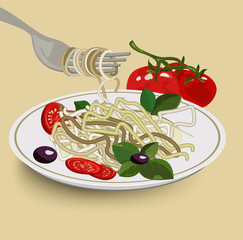 Spaghetti on fork with tomato slices and olives