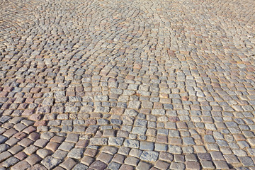 The historic, cobbled road - Gdansk, Poland