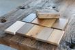 Leinwandbild Motiv Samples of different kinds of wood in a furniture shop