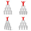 Leadership Red man standing arms wide open up on top of pyramid