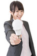 Asian businesswoman with a light bulb