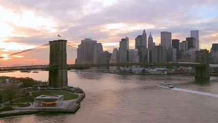 New York City Brooklyn Bridge downtown skyline evening