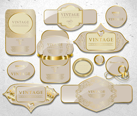 Retro white gold label