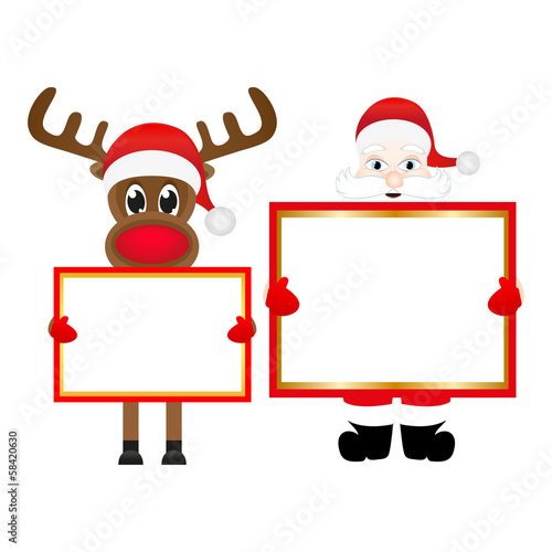 Santa Claus and reindeer with blank banner