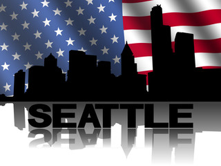 Seattle skyline and text reflected American flag illustration