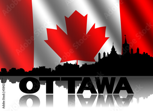 Ottawa skyline and text reflected Canadian flag illustration