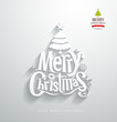 Merry Christmas, lettering paper cut design