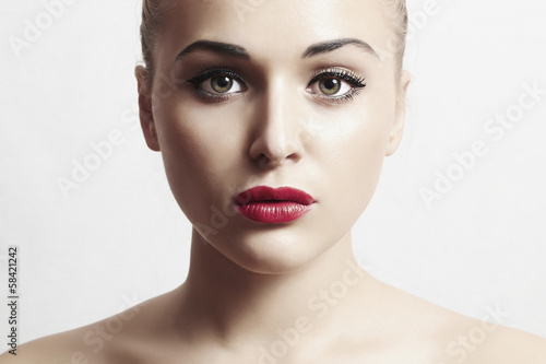 sexy beautiful woman with red lips.close-up portrait