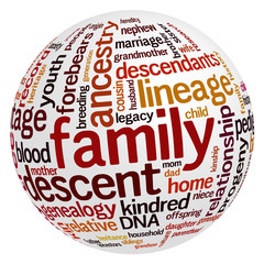 Tag clouds with words related to family
