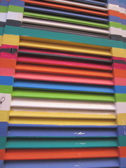 colourful paint on window shutter