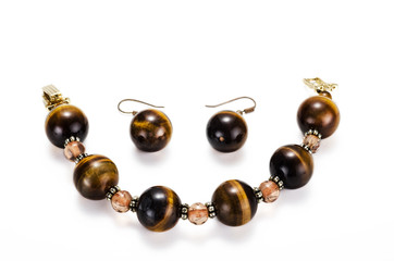 Tiger eye bracelet with earrings