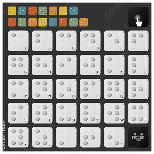 Braille Alphabet Icon Set
