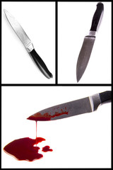 knife smeared with blood isolated on white