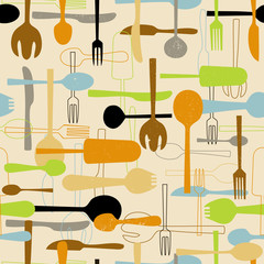 Cutlery seamless pattern background. Vector