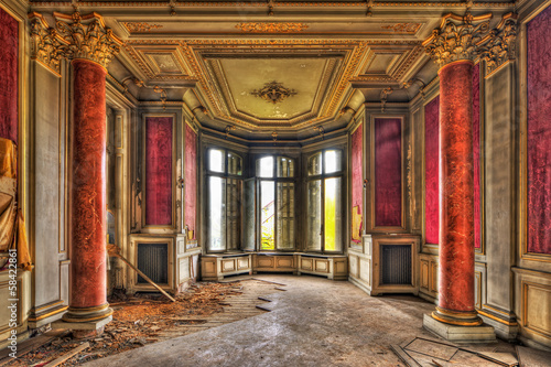 Empty majestic room in an abandoned manor - 58422861