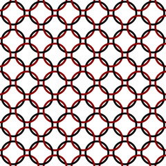 Black, Red and White Interlaced Circles Textured Fabric Backgrou