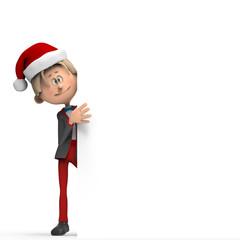 Niño con Gorro de Navidad