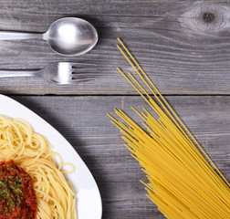 Spaghetti bolognese with  tomato beef sauce