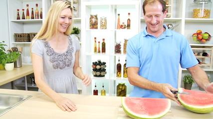 Happy Blonde Caucasian Couple Healthy Fruit Eating