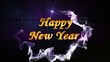 Happy New Year Text in 3D Falling Cubes, Loop