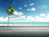 Fototapety asphalt road and sea