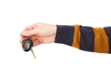 The man hand with auto key
