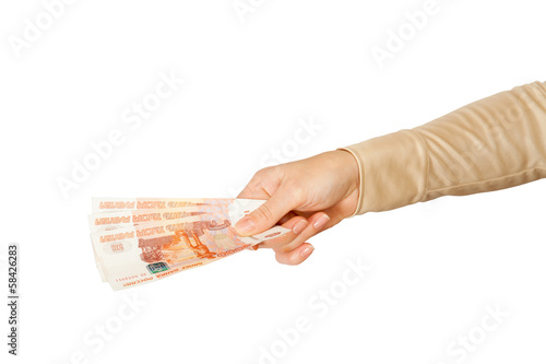 Russian 5000 roubles in female hand