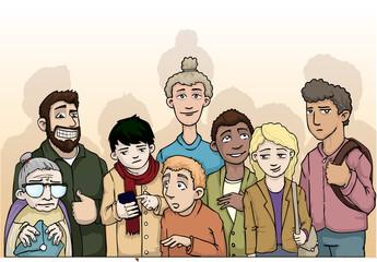 Group of random, various people