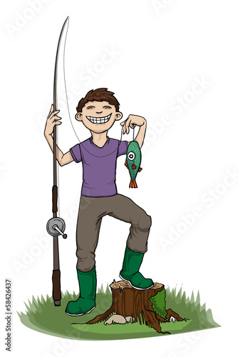 Boy proud of his fish, vector illustration