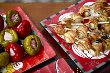 Christmas platters with appetizer