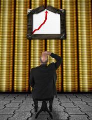 Businessman watching business chart - business success