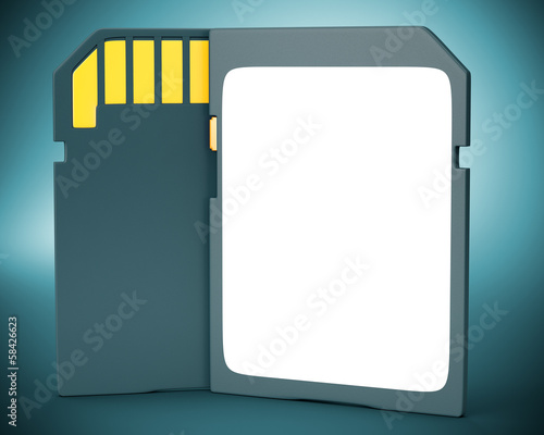 Memory card on dark background.