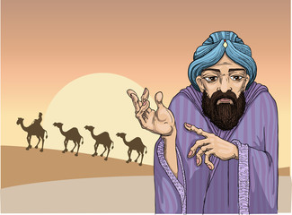 Man from the east pointing at a camel caravan
