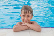 Portrait of the boy in the pool